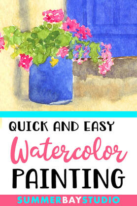 Quick and easy watercolor flower painting.