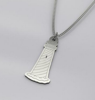 Silver lighthouse necklace.