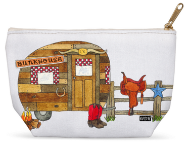 Cosmetic bag with vintage trailer cowboy, saddle, boots.