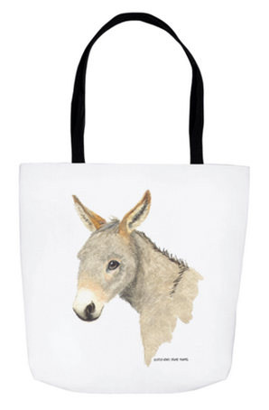 Tote bag with watercolor of donkey.