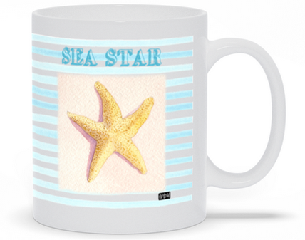 Coffee mug with blue stripes and starfish, watercolor art.